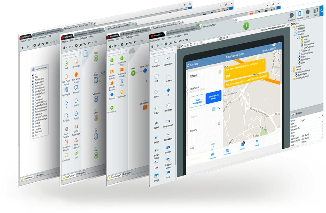OutSystems Plattform vier Schichten